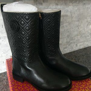 Tory Burch Marion Black Leather Boots Size 8